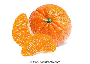 blanc, mandarine, isolé