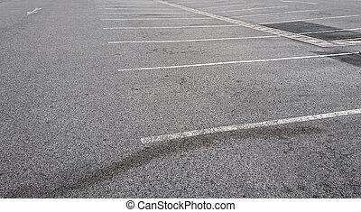 blanc, marquer, vide, stationnement