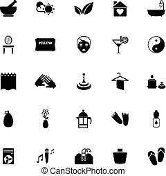 blanc, masage, fond, icônes