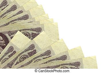 blanc, mensonges, 25, isolé, factures, empilé, russe, fond, fin, espace, haut, copie, rubles, ventilateur