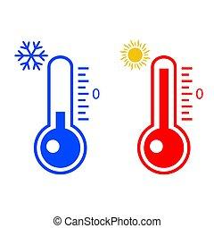 blanc, mesurer, flocon de neige, chaleur, isolé, arrière-plan., soleil thermomètre, illustration, vecteur, froid, icône