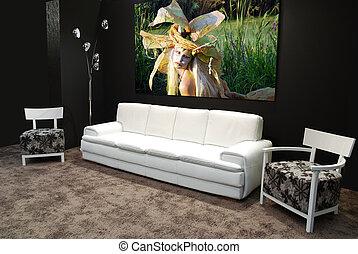 blanc, meubles modernes