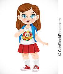 blanc, mignon, fond, sac à dos, brunette, écolière, isolé, dessin animé