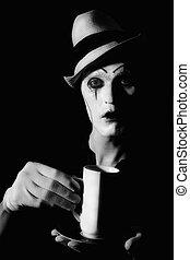 blanc, mime, clown, avoirs entourent