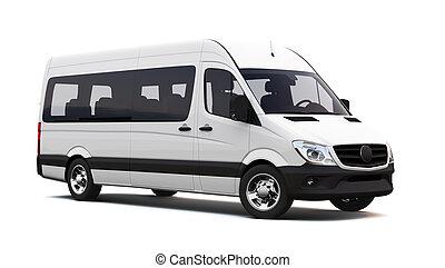 blanc, minibus