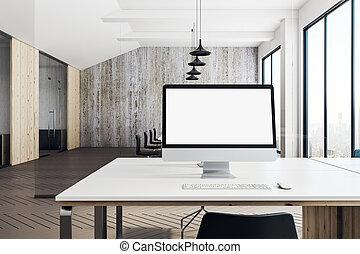blanc, moderne, informatique, bureau vide