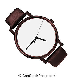 blanc, moderne, montre, isolé, fond