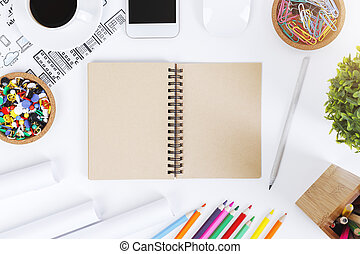 blanc, moderne, objets, bureau