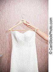 blanc, moderne, robe, mariage