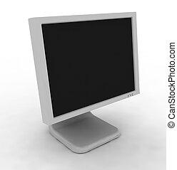 blanc, moniteur ordinateur, fond