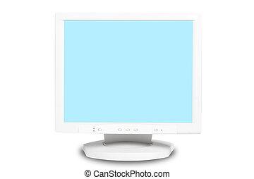 blanc, moniteur ordinateur, fond, isolé