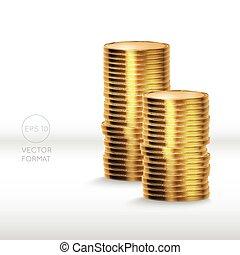 blanc, monnaie, isolé, or, pile