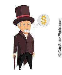 blanc, monopole, capitaliste, complet, image, arrière-plan., homme, canne, sien, vieux, chapeau, debout, argent, noir, business, mains, rigolote, finance