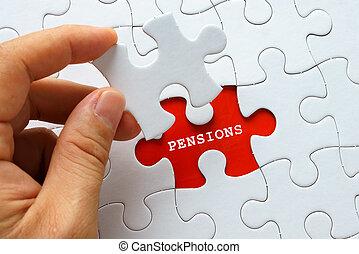 blanc, mot, puzzle, pensions