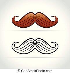 blanc, moustache, fond