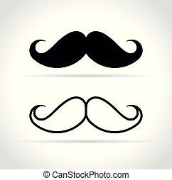 blanc, moustache, fond, icônes