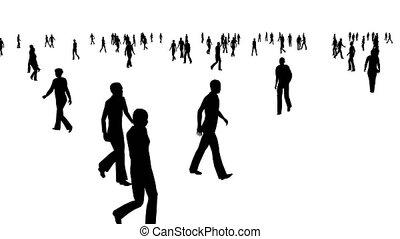 blanc, mouvements, foule, gens