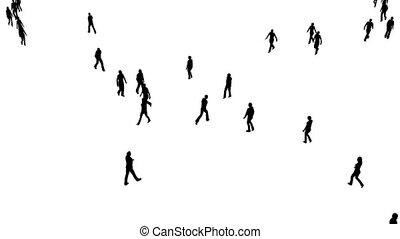 blanc, mouvements, lentement, foule, gens
