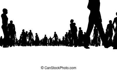 blanc, mouvements, silhouette, foule, gens
