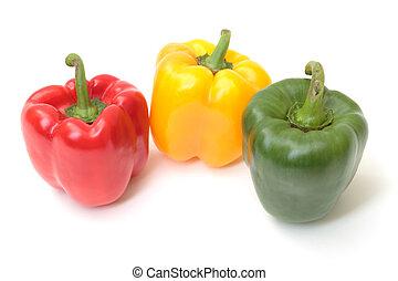 blanc, multicolore, isolé, fond, paprika