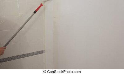 blanc, murs, ouvrier, peinture, peinture