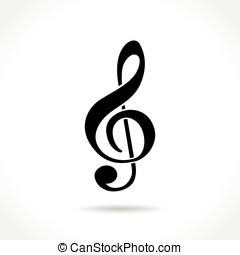 blanc, musique, fond, icône