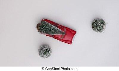 blanc, neigeux, jouet, porte, lent, voiture, arbre, rouges, arrière-plan., vue., year., copie, concept, sommet, noël celébration, motion., miniature, space., nouveau