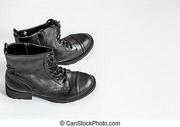 blanc, noir, bottes, fond