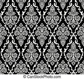 blanc, noir, damassé, papier peint, seamless