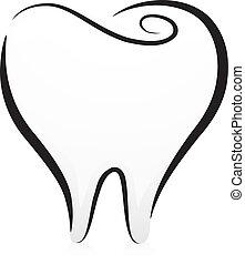 blanc, noir, dent