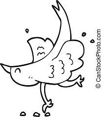 blanc, noir, dessin animé, oiseau