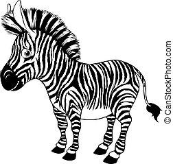 blanc, noir, dessin animé, zebra