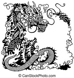 blanc, noir, dragon chinois