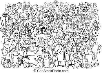 blanc, noir, foule, gens