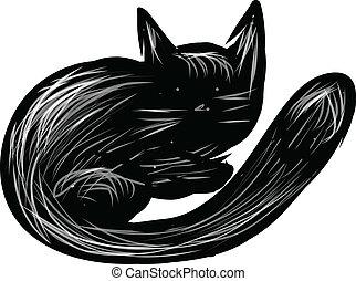 blanc, noir, isolé, chat