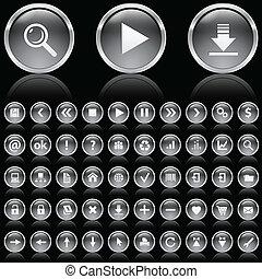 blanc, noir, lustré, icônes