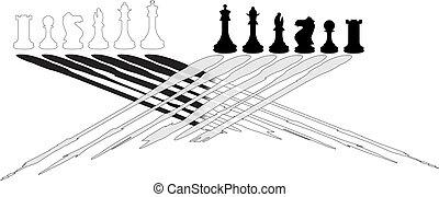 blanc, noir, morceaux échecs