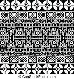 blanc, noir, motifs, ethnique