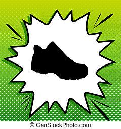 blanc, noir, popart, botte, arrière-plan vert, icône, signe., spots., illustration., éclaboussure