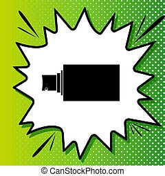 blanc, noir, popart, pulvérisation, vert, icône, signe., fond, spots., illustration., éclaboussure
