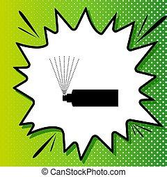 blanc, noir, popart, vert, bouteille, icône, signe., fond, pulvérisation, spots., illustration., éclaboussure
