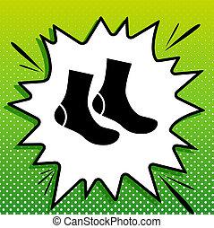 blanc, noir, popart, vert, chaussettes, icône, signe., fond, spots., illustration., éclaboussure