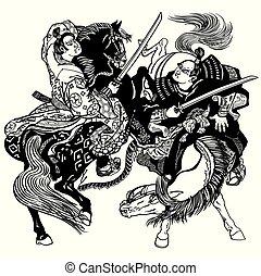 blanc, noir, samouraï, deux