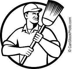 blanc, noir, tenue, cercle, balai, nettoyeur, concierge, balayeur, rue, ou, retro