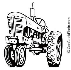 blanc, noir, tracteur