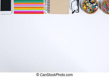 blanc, objets, fonctionnement, bureau