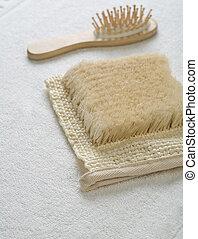 blanc, objets, serviette, deux