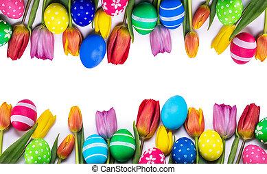 blanc, oeufs pâques, tulipes