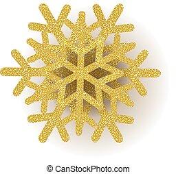 blanc, or, flocon de neige, fond