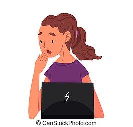 blanc, ordinateur portable, bureau, femme, fonctionnement, fond, dur, séance, employé, devant, girl, informatique, vecteur, accentué, illustration
